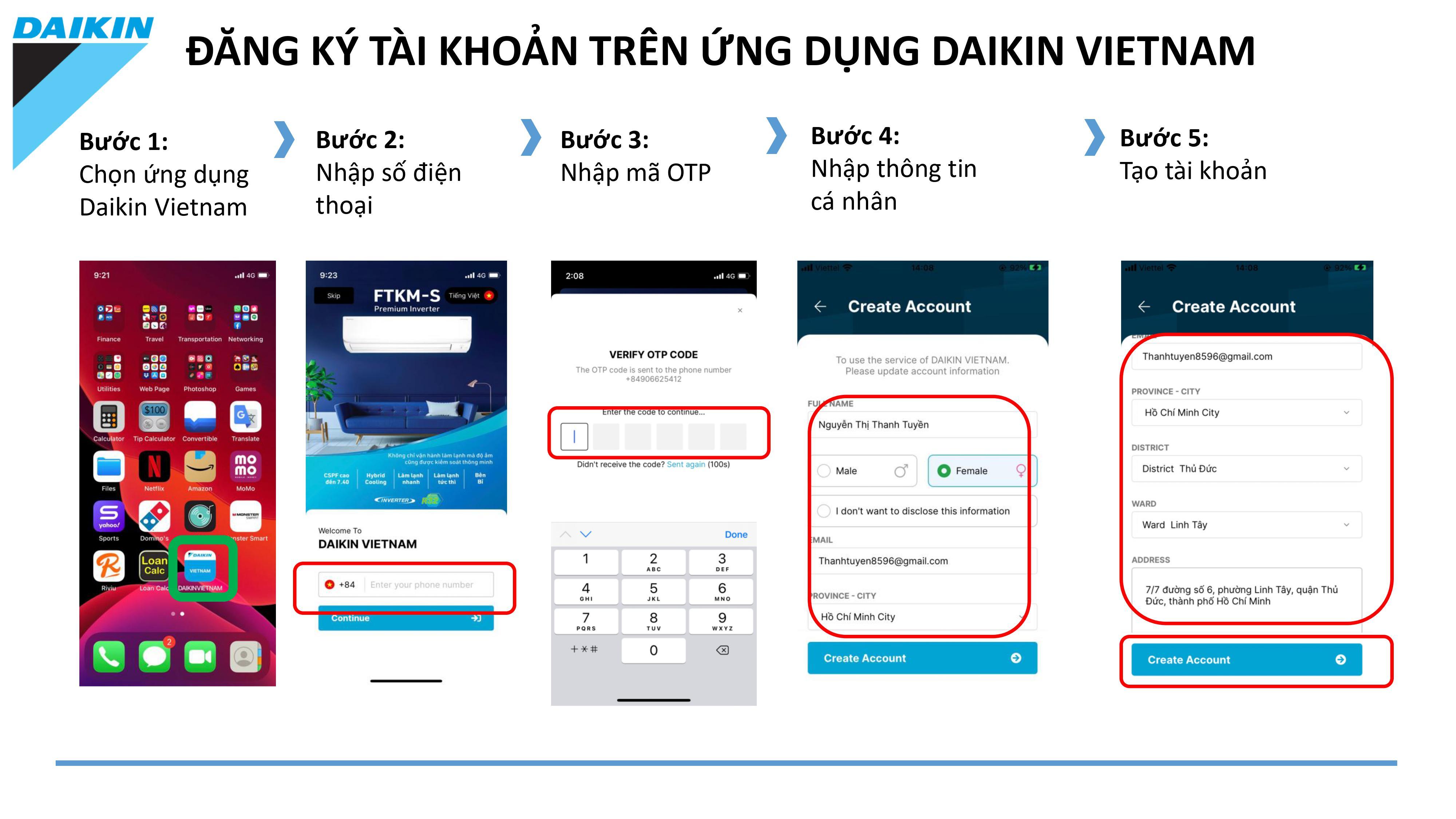 Đăng kí thông tin trên ứng dụng